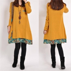 Top Selling Winter Vintage Women Long Sleeve Tunic Kaftan Floral Loose Casual Mini Dress yellow m