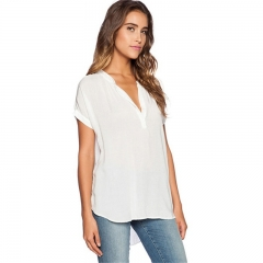 Women Blouses Shirts Casual Short Sleeve Blusas Summer Ladies Tops Tees 2017 Fashion Blusas white s