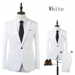 2017 NEW Business Leisure Suit Single Row Of A Buckle A Two-piece Suit The Groom Best Man Wedding white m