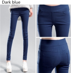 New Fashion Women Candy Color Long Pants Pencil Pants Elastic Fabric Women's Trousers dark blue s