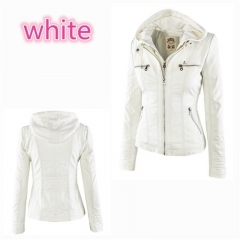 New Stunning Women's Stylish Slim Removable Hooded Leather Jackets white s