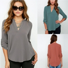 Sexy Women V Neck Solid Chiffon Blouse Ladies Summer Long Sleeve Loose T Shirt white s
