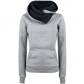 Fashion Personality Lapel Women Hoodies Hooded Pullovers Sweatershirt Solid Warm Fleece Hoodies Coat light grey m