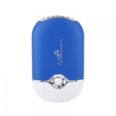 Very cheap USB charging beauty fan Leafless air conditioner Outdoor handheld mini fan blue