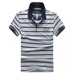 JEEP short-sleeved T-shirt striped men's wear has buttons Big yards Blue M