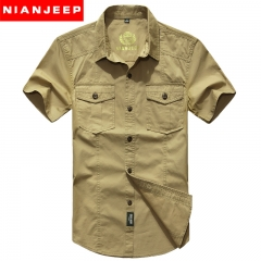 JEEP boy's short-sleeved shirt pure color denim army green has buttons Khaki XL