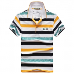 JEEP stripe T-shirt with short sleeves Lapel fashionable men's clothing yellow m