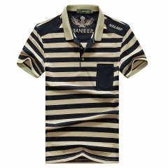 JEEP striped short-sleeved T-shirt POLOS collar fashion boy Royal Blue m