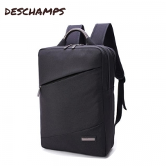Canvas pure color travel double backpack, male business backpack, student leisure computer bag Black Backpack