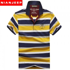 JEEP stripe short sleeves, casual men's top, T-shirt yellow and orange, very popular yellow m
