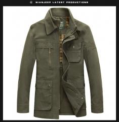 JEEP men's jacket, zipper coat, double-deck neckline (military green and khaki) army green m