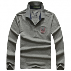 JEEP long-sleeve lapel T-shirt fashion boy's plain coloured dress embroidered T-shirt gray m