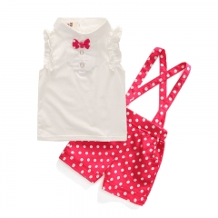 The new Korean version of the girl's bow lapel of pure cotton top two pieces of trousers rose color 90cm