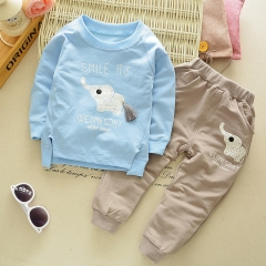 Children's girl's sports suit 2017 baby elephant stamp long sleeve hoodie jacket light blue S-80