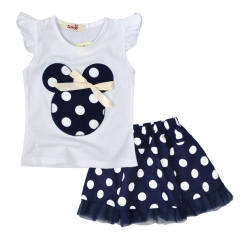 The new mickey head polka dot girl suit flounce skirt and T-shirt + wave point skirt two pieces navy blue 90cm