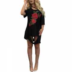 2017t-shirt large-size sexy hollowed-out shoulder embroidery dress ladies' dress balck m