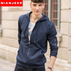 JEEP men's hooded cardigan outfit with a zipper's pure color casual sapphire blue m