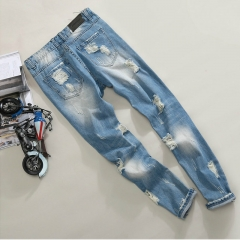 Ripped jeans and men's hip hop shorts and panty pants blue 28