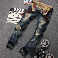 Men's wear ripped straight leg jeans and jeans, European and American patches the picture color 28