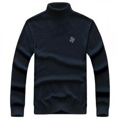 JEEP chic thin high neck cotton sweater men long sleeve warm coat sapphire blue color m