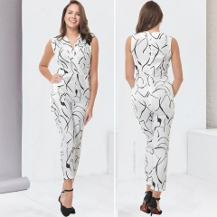 Fashion women stepped up a new dress with no sleeves and long pants white s
