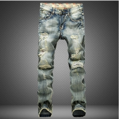 Art holes fashion men's wear jeans large size loose hot sell trend long pants the picture color 28