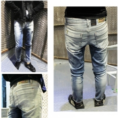 Add code character to make old hole jeans men's light white gradient is very popular the picture color 28