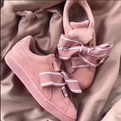 Pink PSU suede round head sport women's shoes cute bow casual shoes pink 35.5