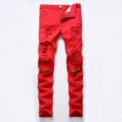 The punk zipper ripped the punk zipper and the casual BOY pants red the picture color 29