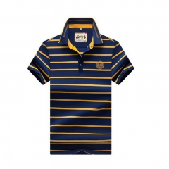 Breathable short-sleeve men's T-shirt with a T-shirt in the fashion business stripe T-shirt 8097 gold 170/M