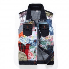 The new male denim vest has no sleeve vest, a stylish male washed hip hop blazer and casual jeans blue xl