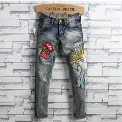 New European and American style hipster jeans embroidered cobra vintage men's trousers blue 29