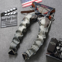 Fashionable multi-pocket classic color pants splicing hipster art broken men jeans the picture color 29