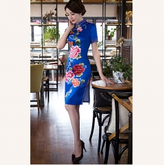 Elegant vintage silk long gown dress fashion dress fashion qipao costume 447 m