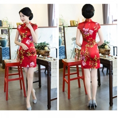 Plain new style shows thin reception red short style Chinese women's ceremonial cheongsam red m