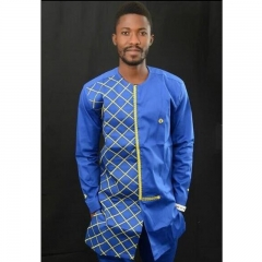 Large size loose Africa spliced long-sleeve men's shirt embroidered plaid round collar men's wear blue m