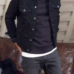The trend is to wear white jeans with a large button and a man's denim jacket black m