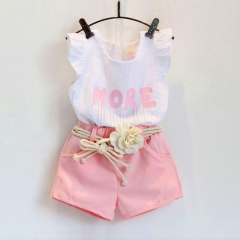 Girl's suit three-piece set of letter print sleeveless top shorts belt cotton children's wear white 90cm