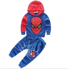 Men and women's children's wear - colored spider man with long sleeves and long trousers Blue 100cm