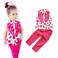 The quality of the new girl's clothes with a sleeveless lace polka dot top and red pantsuit red 3T-(80-90cm)