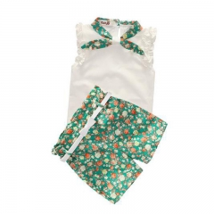 Female children's new sleeveless small floral collar and floral high-waisted three-piece suit green 90cm