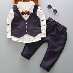 Children's suit boy suit of pure cotton moustache shirt, three-piece suit gray 80cm