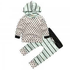 Pure cotton baby clothes set of cross long sleeve t-shirts hooded trousers (made in China) white 90cm