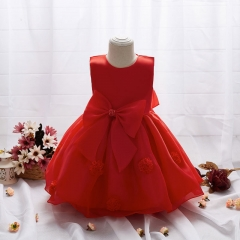 Girl dress butterfly flower dress skirt wedding floral dress for children's dress red 100cm