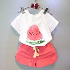 Children's dress girls' summer new casual short-sleeved T-shirt and watermelon shorts suit white 7(100)
