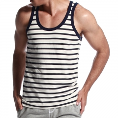 Cotton men's tight vest trend of self-cultivation sweater sleeveless shirt Dark blue stripes m