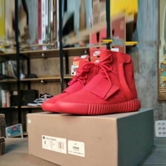 Men 's shoes to increase size Yeezy Boost 750 high to help tie shoes casual men' s shoes red 40
