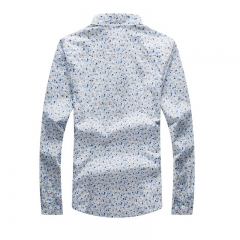 Men 's casual Slim fashion printing shirt cotton men' s young long - sleeved flower shirt flower m