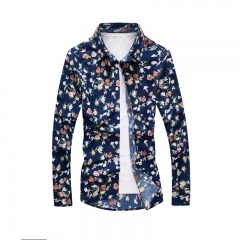 Youth casual Slim fashion print shirt cotton men young long sleeves shirt flower m