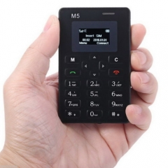 Cheapest Small Alarm Clock 128M Storage Mini Pocket Card Black AIEK M5 Phone black